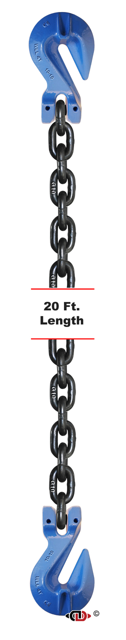 G100 – 3/8″ x 20′ Tow and Binder – Recovery – and Lashing Chain with Clevis Cradle Grab Hooks.