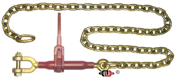 (DR-SJ) Specialty Pro-Bind Series – Ratchet Binder with 3/8″ x 32″ G7 Chain and Swivel Jaw. The Pro's Workhorse, heavy 1″ diameter ACME screw, Specialty End Fittings – Swivel Jaws.