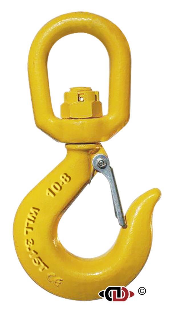 G-80 3/8″ Forged Eye Swivel Hook (w/ Latch) metric (3.15 Ton).