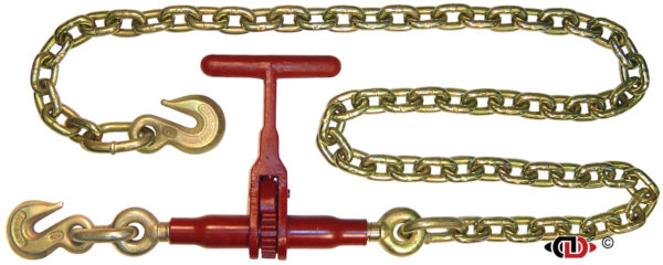 """(LDR-T) Specialty Light Pro-Bind """" T-Handle """" Series Ratchet Binder, with 6 feet of 3/8″ G80 Chain."""