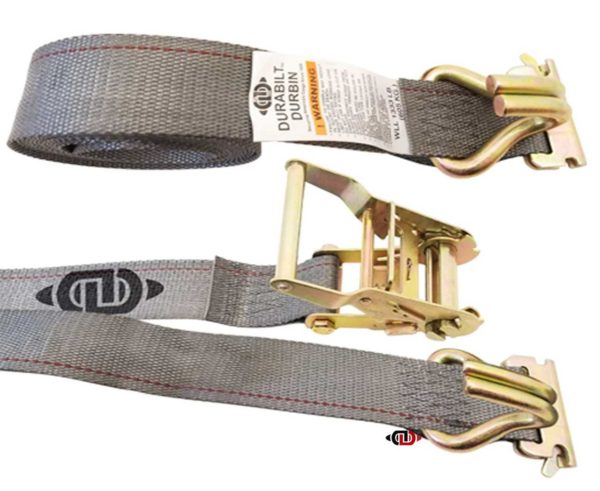 2″ x 16′ Logistic Strap with Ratchet Handle and EA fittings with Wire Hooks.