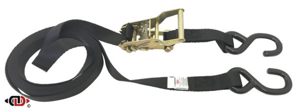 1″ x 16′ Utility Tie-Down Ratchet Strap w/ Vinyl Coated S-Hooks Each End.