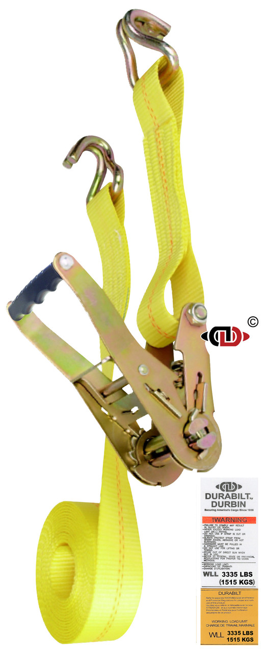 2″ x 14′ Ratchet Strap w/ Wide Handle & Lighter Duty Wire Hook.