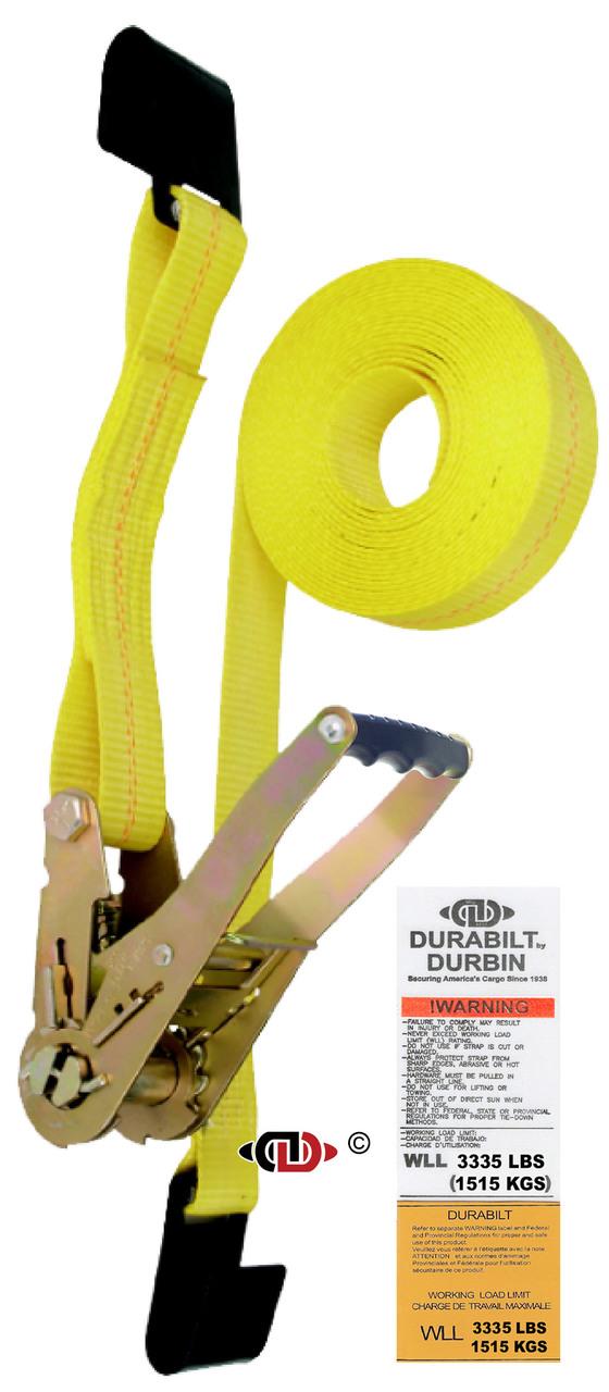 2″ x 27′ Ratchet Strap w/ Long-wide Handle & Lighter Duty Flat Hooks.