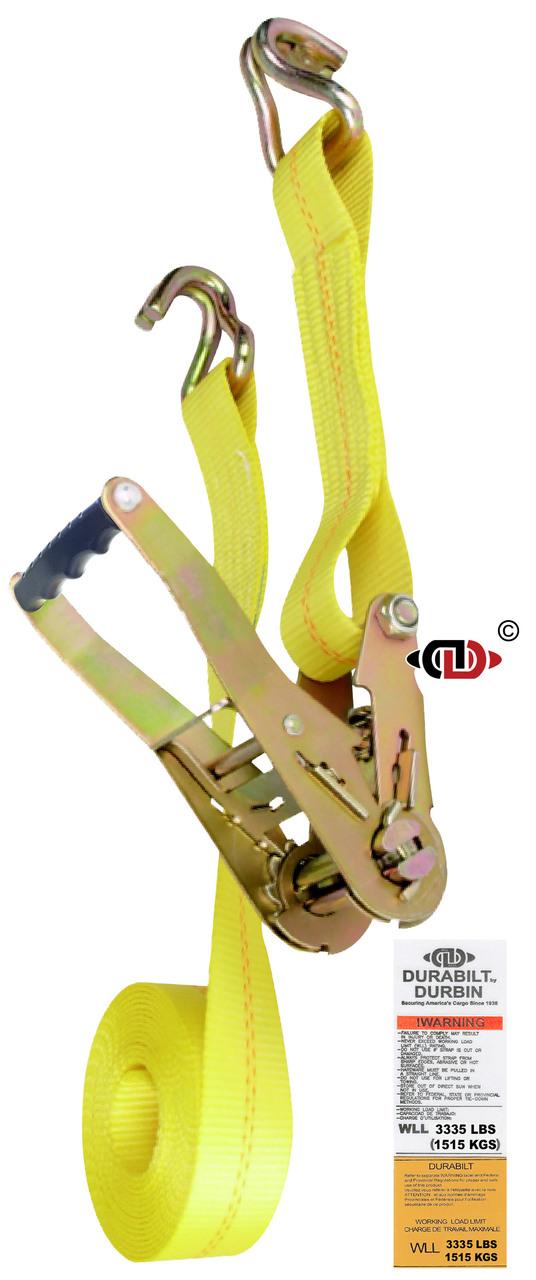 2″ x 27′ Ratchet Strap w/ Long-wide Handle & Lighter Duty Wire Hook.