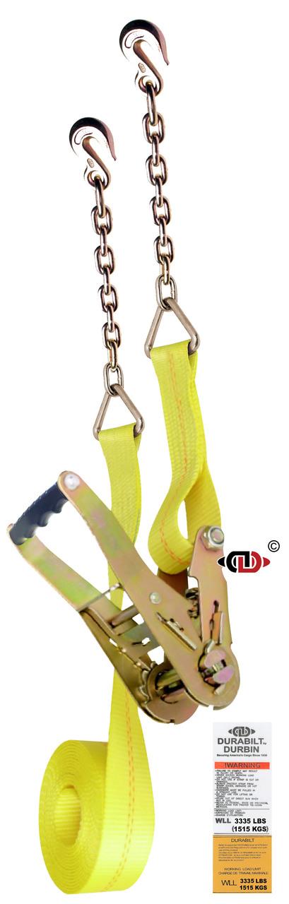 2″ x 27′ Ratchet Strap w/ Wide Handle & Light Duty Chain Anchors.