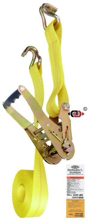 2″ x 27′ Ratchet Strap w/ Wide Handle & Lighter Duty Wire Hook.