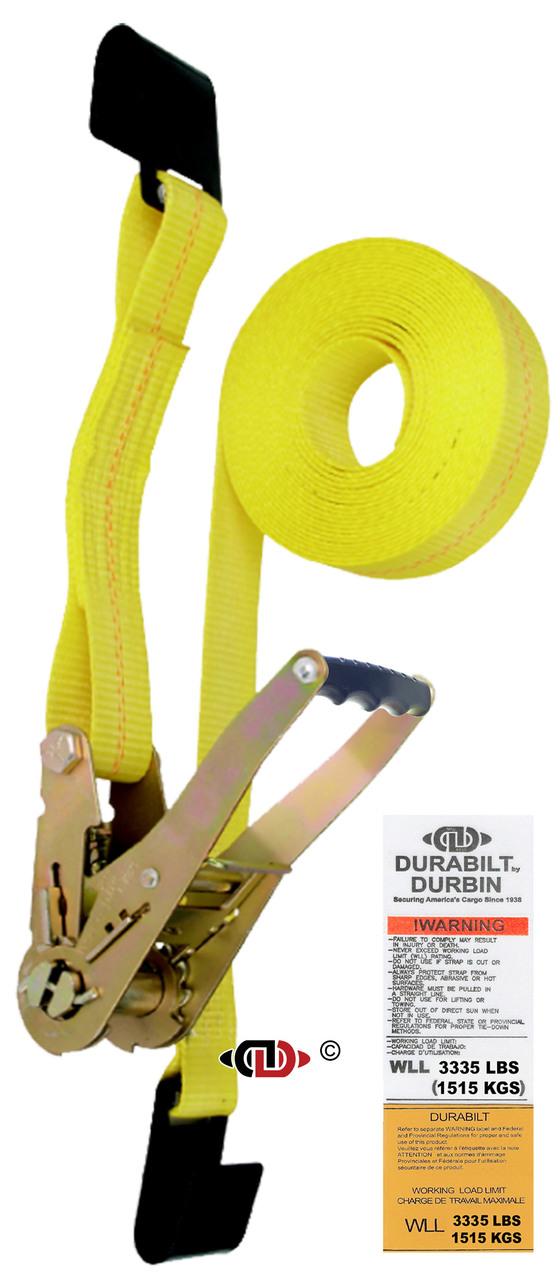 2″ x 30′ Ratchet Strap w/ Long-wide Handle & Lighter Duty Flat Hooks.