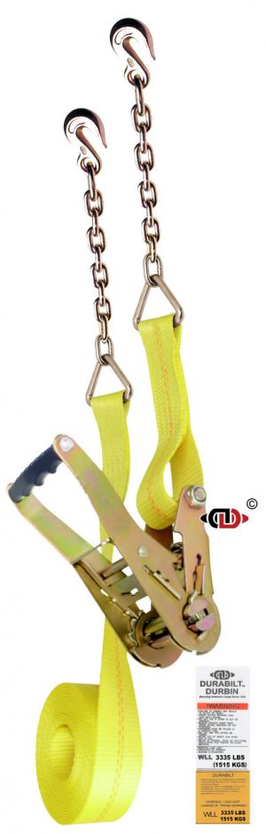 2″ x 30′ Ratchet Strap w/ Wide Handle & Light Duty Chain Anchors.
