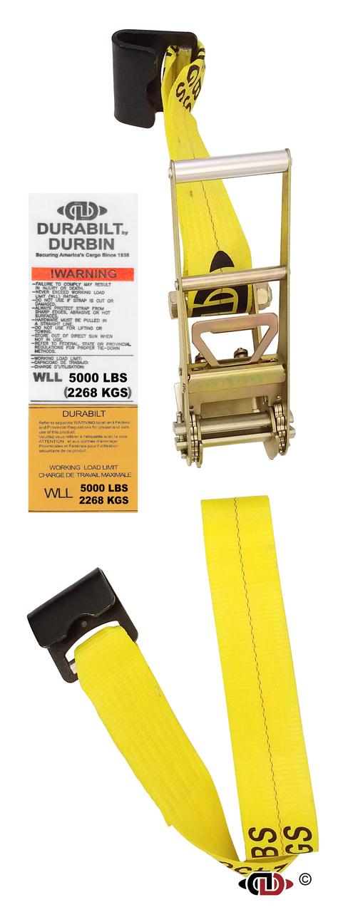 3″ x 27′ Ratchet Strap w/ Long-wide Handle & Lighter Duty Flat Hooks.