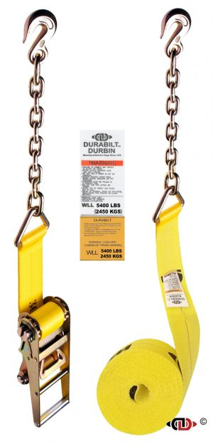 3″ x 30′ Ratchet Strap w/ Long Handle & Medium Duty Chain Anchors.
