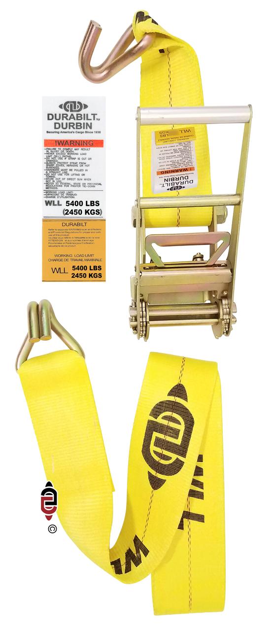 3″ x 30′ Ratchet Strap w/ Long Handle & Medium Duty Wire Hook.