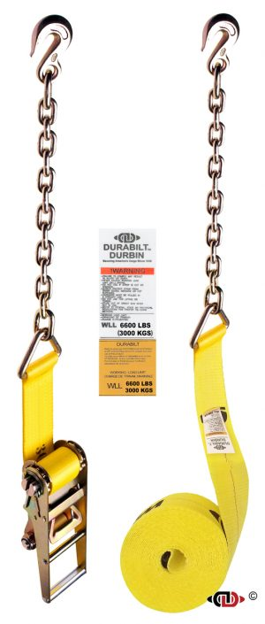 3″ x 30′ Ratchet Strap w/ Long Handle & Heavy Duty Chain Anchors.