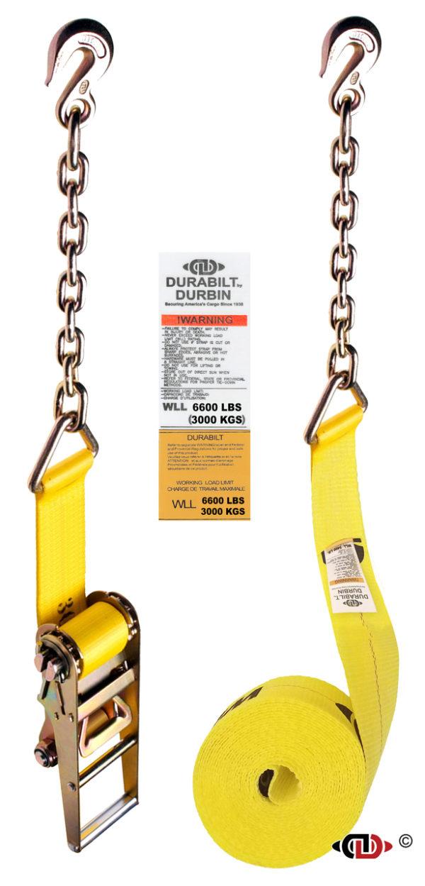3″ x 30′ Ratchet Strap w/ Long Handle & Heavy Duty Chain Anchors.