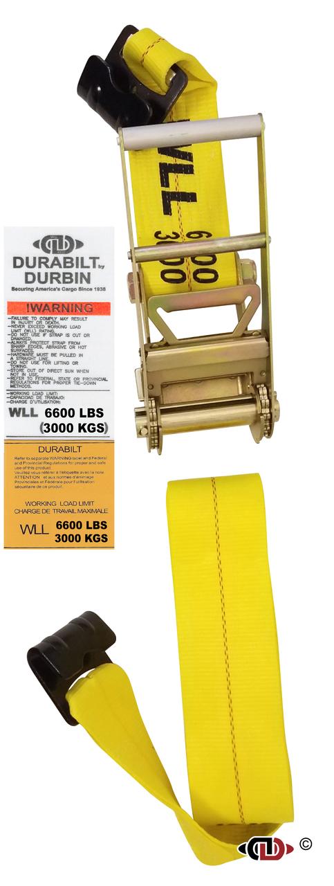 4″ x 30′ Ratchet Strap w/ Long Handle & Heavy Duty Flat Hooks.