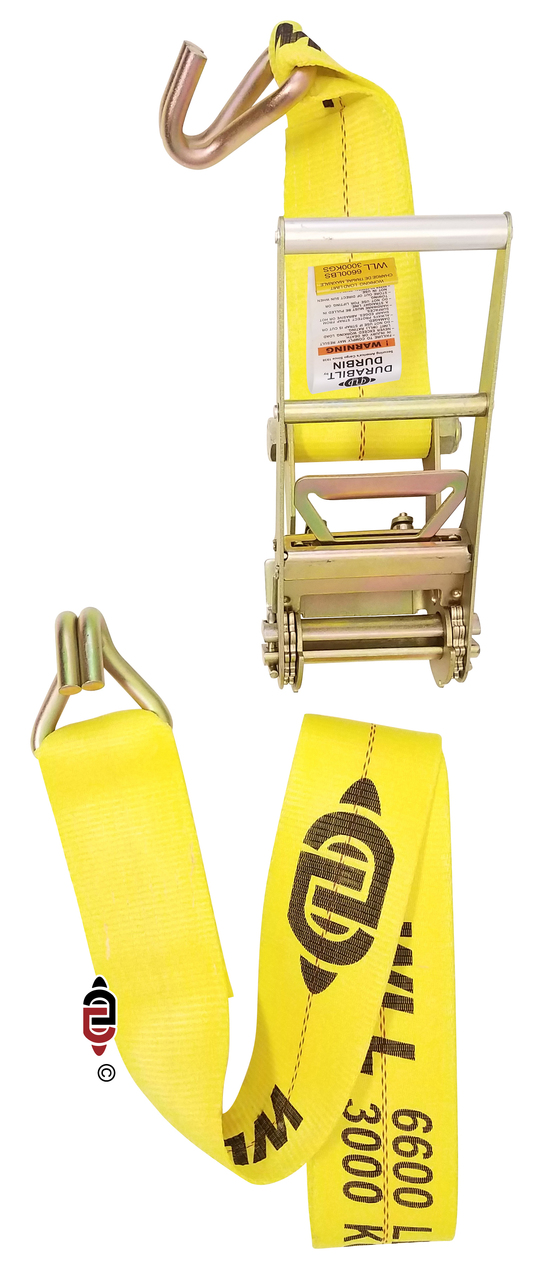 4″ x 30′ Ratchet Strap w/ Long Handle & Heavy Duty Wire Hook.