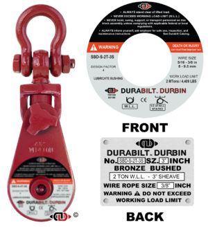 """2 Ton Snatch Block with Shackle and 3"""" Diameter Sheave SBD-S-2T-3S"""