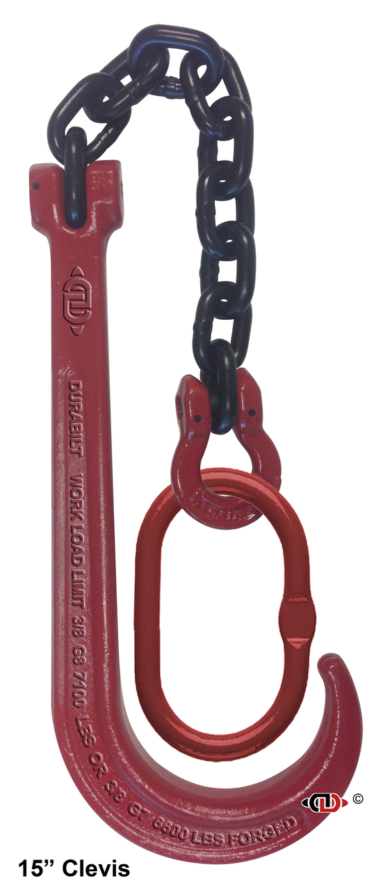 G80 15″ J-Hook with Chain & Master Link with Omega Link – Black Powder Coated & Red Enamel.