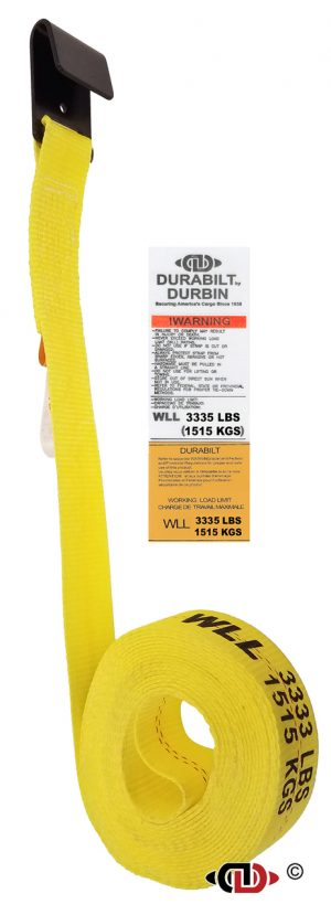 2″ x 27′ Winch Strap w/ Lighter Duty Flat Hook.