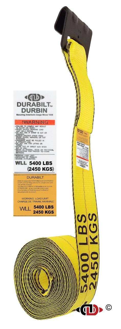 3″ x 30′ Winch Strap w/ Medium Duty Flat Hook.