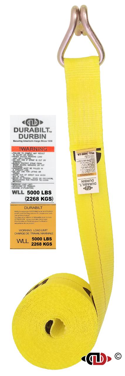 3″ x 30′ Winch Strap w/ Lighter Duty Wire Hook.