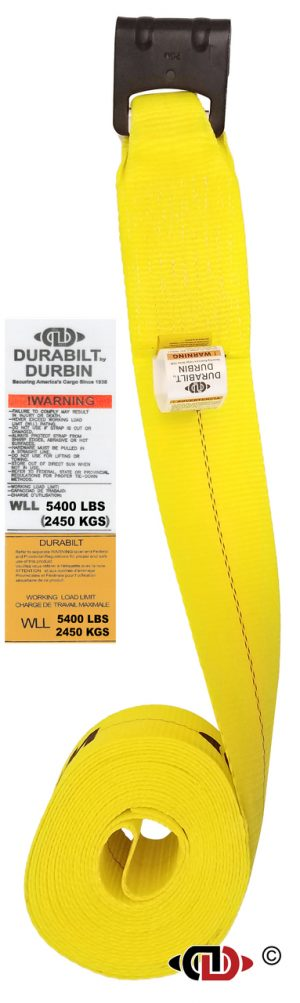 4″ x 27′ Winch Strap w/ Medium Duty Flat Hook.