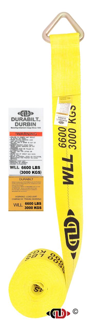 4″ x 30′ Winch Strap w/ Heavy Duty Delta Ring.
