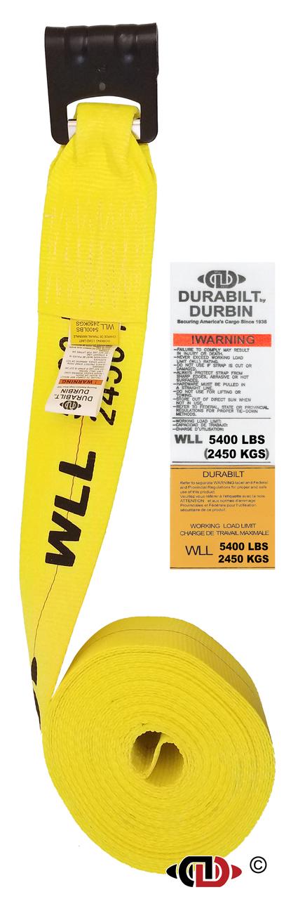 4″ x 40′ Winch Strap w/ Medium Duty Flat Hook.