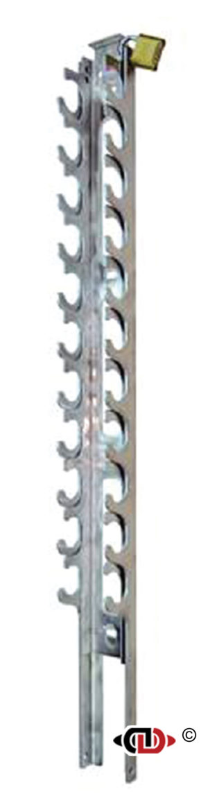 Lockable Aluminum Ratchet Binder Rack - Holds 11 Binders RRA-L11-48