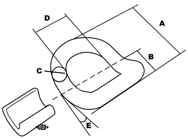 Weld-On Angled D-Ring Line Dimension Drawing