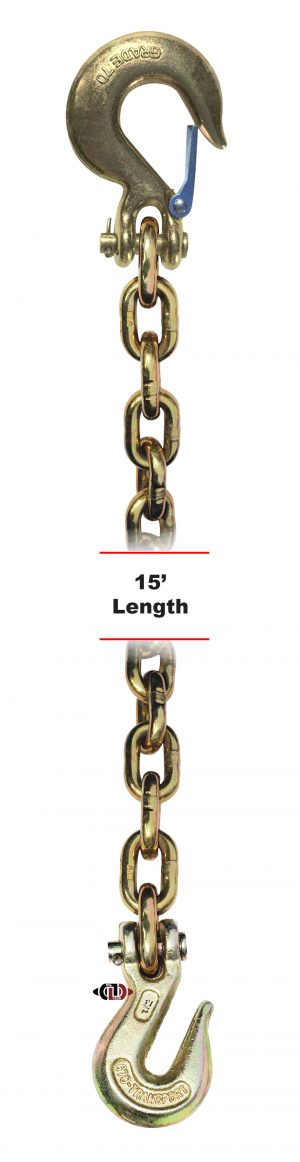"G-70 1/2"" x 15' Chain with Grab Hook One End & Slip Hook One End DBC-12x15-G7-CSCGH"
