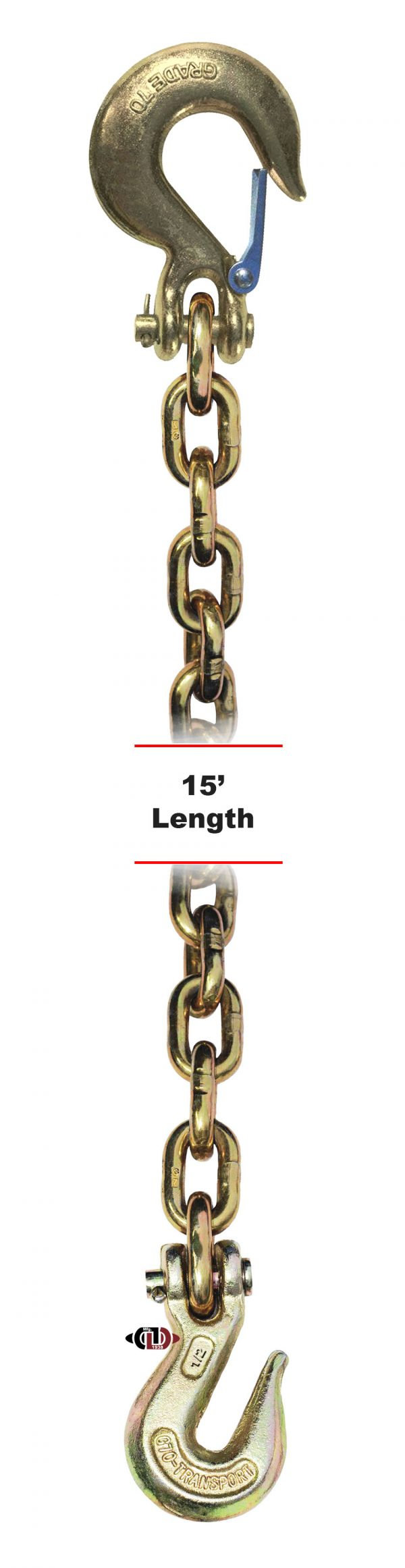 """G-70 1/2"""" x 15' Chain with Grab Hook One End & Slip Hook One End DBC-12x15-G7-CSCGH"""