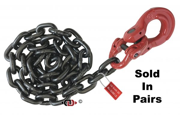 G80 Front Axle Tie-Down Assembly with 1/2″ Chain. Dura-Link. and 5/8″ Omega Link.