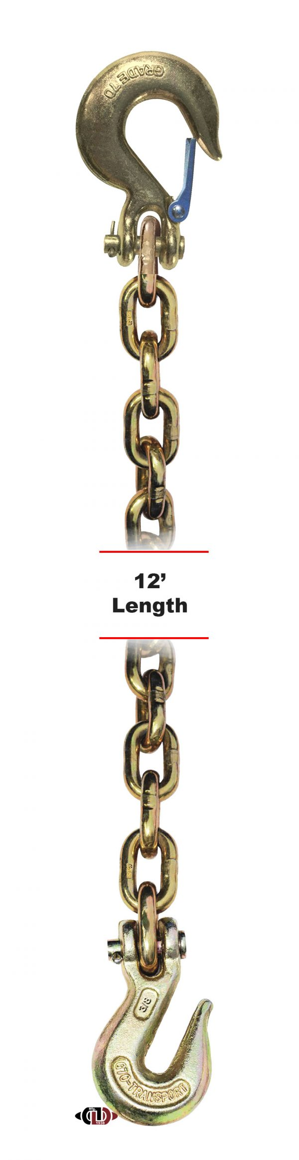 "G-70 3/8"" x 12' Chain with Grab Hook One End & Slip Hook One End DBC-38x12-G7-CSCGH"
