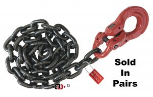 G80 Front Axle Tie-Down Assembly with 3/8″ Chain. Dura-Link. and 1/2″ Omega Link.