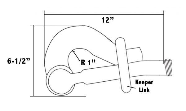 Steamboat Ratchet Binder Pelican Hook Dimension Drawing