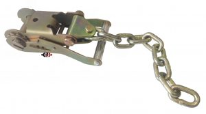 "Wide Ratchet Strap Handle/Buckle with G-70 5/16"" x 12"" Chain Tail for 2"" Wide Straps RB-2-W-CHU-12"