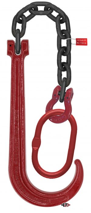 """G80 15"""" J-Hook with 20' Chain & Master Link with Omega Link TR-G8J15-ML-20"""