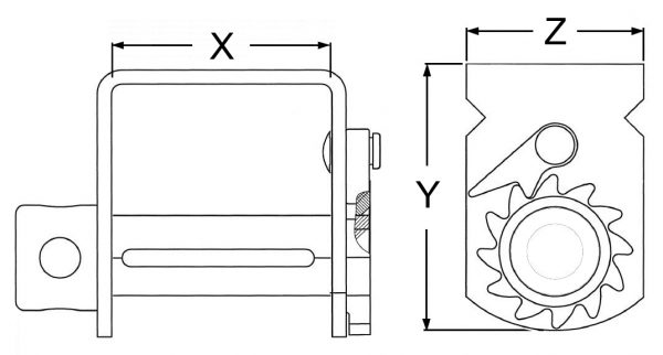 Winch Binder Line Drawing, Dimension Drawing