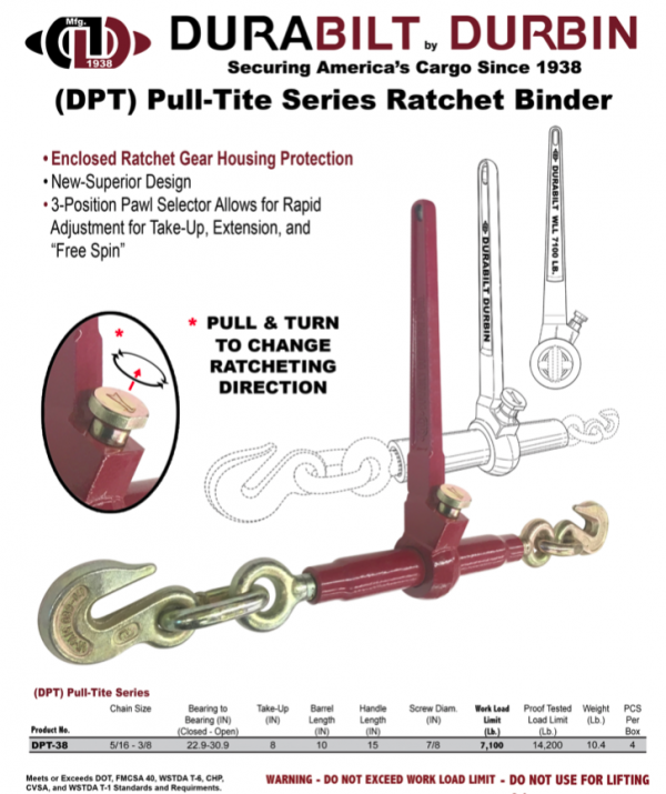 (DPT) Pull-Tite Series with Enclosed Ratchet Gear Housing for Smooth Operation and Protection - WLL 7,100 Lb. DPT-38