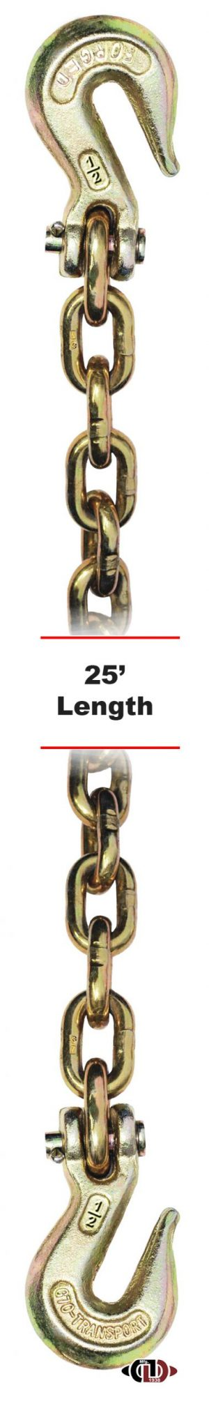 "G-70 1/2"" x 25' Chain w/ Clevis Grab Hooks on Both Ends DBC-12X25-G7-CGH (Copy)"