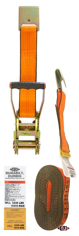 "Hi-Vis Orange 2"" x 27' Ratchet Strap w/ Long-wide Handle & Lighter Duty Flat Hooks RS-2-27-LW-FH-O"