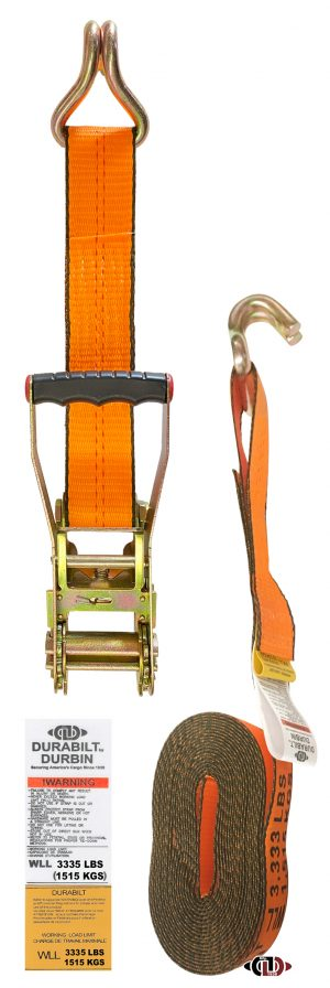 """Hi-Vis Orange 2"""" x 27' Ratchet Strap w/ Long-wide Handle & Lighter Duty Flat Hooks RS-2-27-LW-FH-O"""