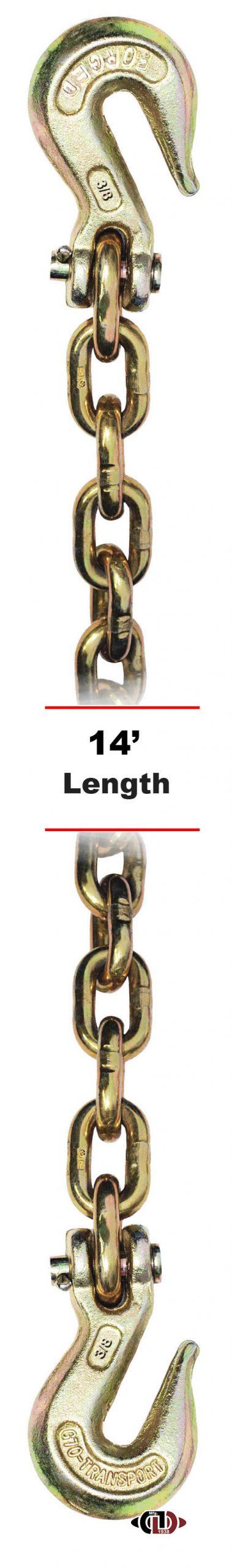 "G-70 3/8"" x 14' Chain w/ Clevis Grab Hooks on Both Ends DBC-38x14-G7-CGH"